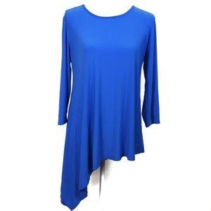 T609 Cato Blue Asymmetrical Hem Blouse Size M